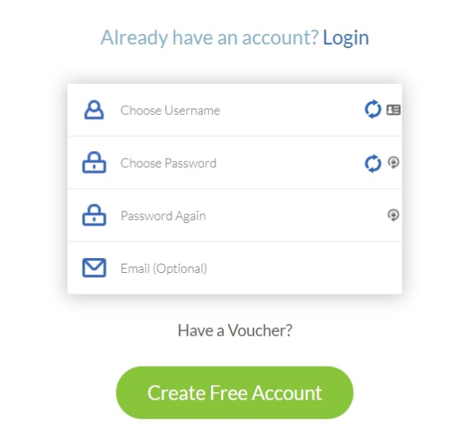 create a new free account